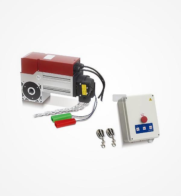 主要功能: a. 电机热保护 b. 凸轮机械限位有:高端限位开关、高端紧急限位开关,低端限位开关,低端紧急限位开关和两个附加功能开关 c. 手动操作保护开关 d. 中停限位开关(带选择开关)。 e. 来自门外部的开启、紧急停止、关闭按钮的指令信号 f. 无线遥控、红外线保护、门中门保护(选配) g.